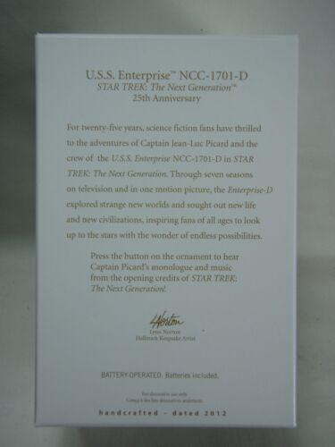 2012 Hallmark Keepsake Ornament USS Enterprise NCC-1701-D 25th Anniversary B8