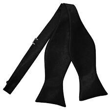 DQT Satin Plain Solid Black Formal Classic Mens Self Tie Bow Tie