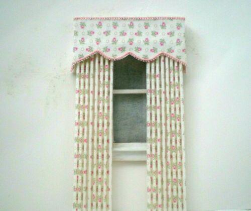 Dollhouse Miniature Handmade Pink Rose Bud Pleated Drapes Curtains