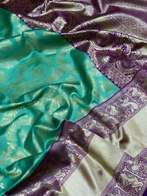 Soft Silk Blue Saree Sari Blouse Jacquard Butta Work Saree Ethnic Women Wear