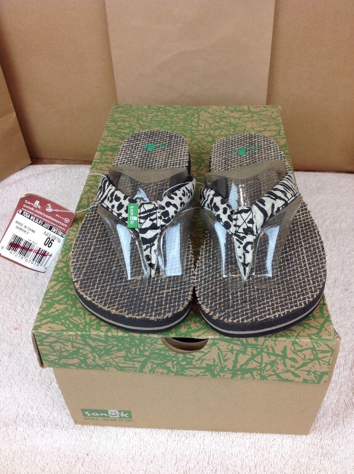Sanuk Women's Yoga Wildlife Jute Lepatyga Sandals Flip Flops Size 6 US