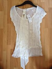 BNWT Ladies New Look Cream Crinkle Sheer Blouse With Satin Tie Belt - UK 10