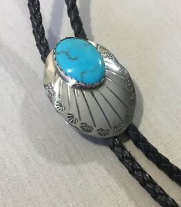 Navajo-Bolo-Tie-Sterling-Silver-Concho-Morenci-Turquoise-Vintage-Hand-Stamped