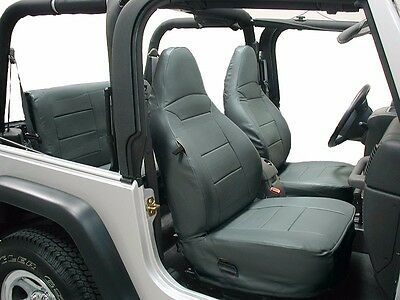 Jeep Wrangler 1997-2002 Black//Charcoal Artificial Leather Custom fit Front and Rear seat Cover