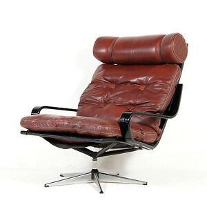 Retro-Vintage-Danish-Leather-Swivel-Base-Lounge-Chrome-Armchair-Egg-Chair-1970s