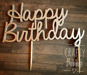 Hand-made-Happy-Birthday-Cake-Topper-laser-cut-wooden-any-colour-personalised