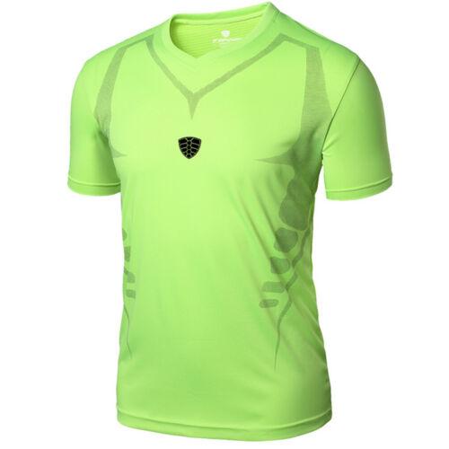 Men Quick Dry Shirt Sport Gym Running Workout Short Sleeve T-Shirt Tops Stretchy