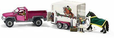NEW SCHLEICH HORSE CLUB PICK UP TRUCK /& BOX TRAILER with HORSE /& FIGURES 42346