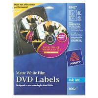 Avery DVD Label - 20 Pack - Circle - 2 Sheet - Inkjet - White Matte - 8962 on Sale