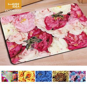 Pink flower entrance doormat area floor rug bathroom anti slip mat image is loading pink flower entrance doormat area floor rug bathroom mightylinksfo