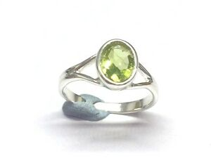 925-Solid-Sterling-Silver-Y-Band-2-2-mm-Ring-with-Real-Peridot-Stone-Size-L-1-2