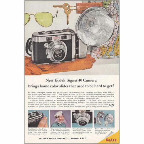 1957 Kodak Signet 40 Camera Bring Home Color Slides Vintage Print Ad