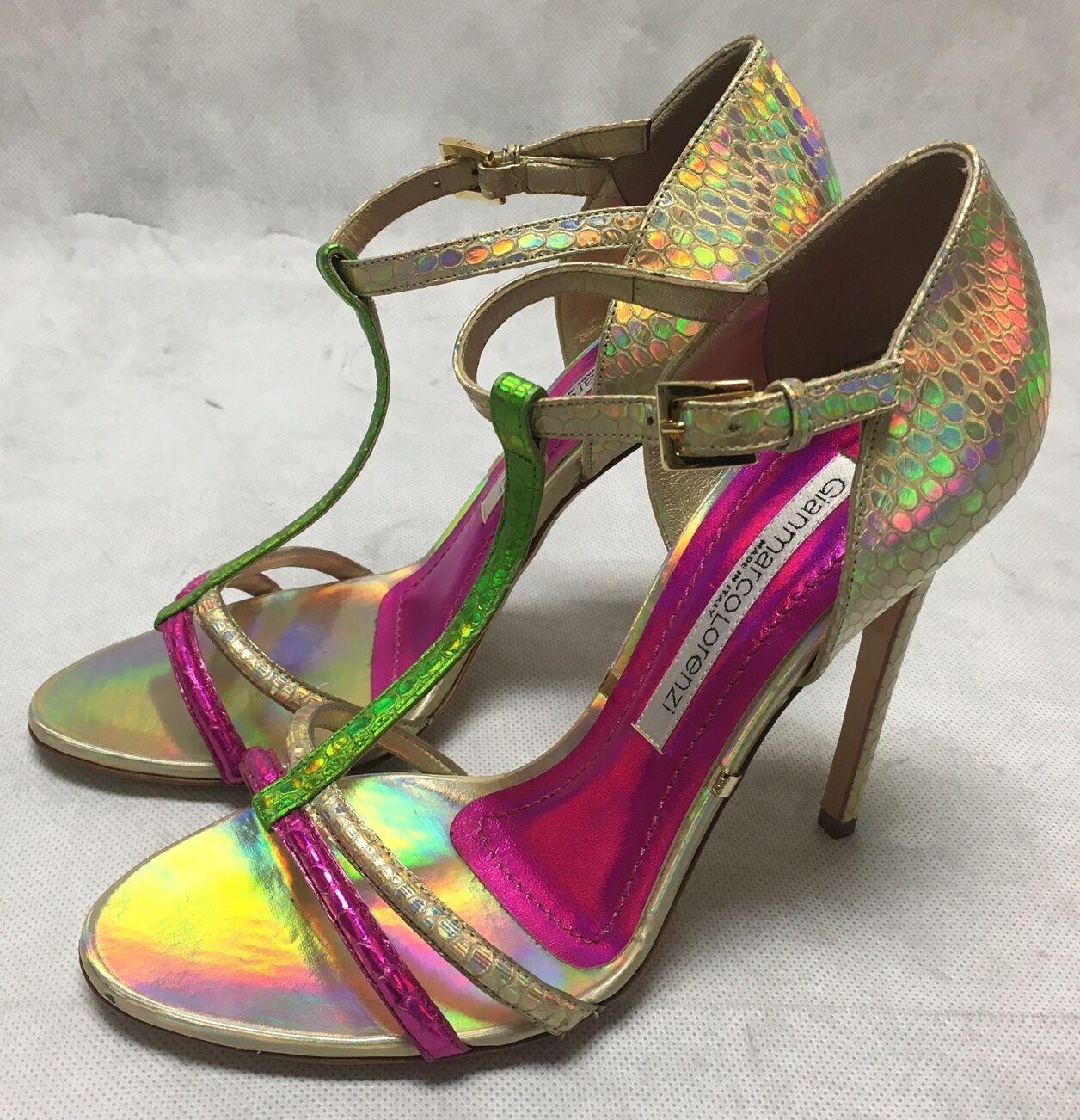 Gianmarco Lorenzi Hologram/pink/green/champagne/gold Sandale Heels. Various Größes