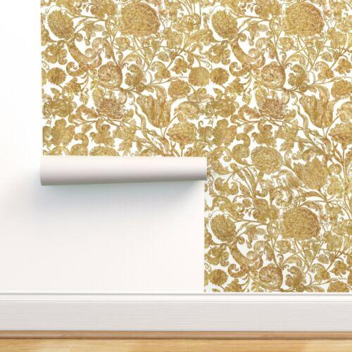 Wallpaper Roll Flowers Floral Gold Gilt Renaissance Victorian 24in x 27ft