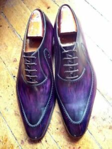 New-handmade-men-039-s-leather-lace-up-patina-oxford-shoes-custom-shoes-for-men