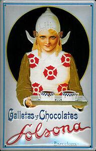 Galletas-Chocolates-Solsona-Barcelona-Letrero-de-Metal-3D-en-Relieve-Cartel-Lata