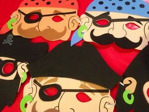Foam-Pirate-Masks-Kid-039-s-assortment-Lot-of-10-COSTUME-children-039-s-birthday-party