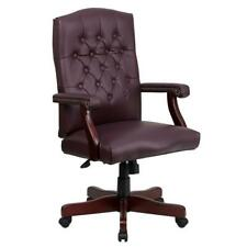 Officedesk Chair Modern Wood Pneumatic Seat Dual Wheel Casters Faux Leather Red