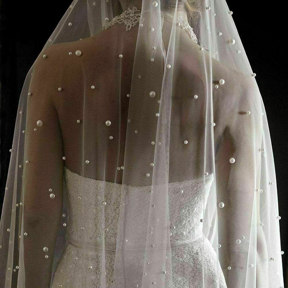 Pearls White Long Bridal Veil With Comb1Layer Cathedral Wedding Veil Pearls