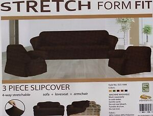 Stupendous Details About Stretch Fit 3 Pcs Slipcover Set Couch Sofa Loveseat Chair Covers Chocolate Brown Pabps2019 Chair Design Images Pabps2019Com