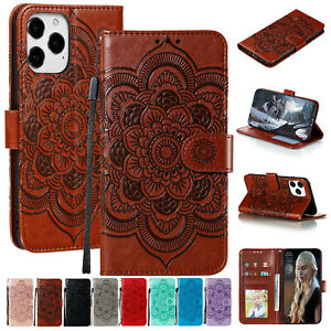 For iPhone 13 Pro Max 12 11 8 7 Plus XS XR Case Emboss Leather Wallet Flip Cover