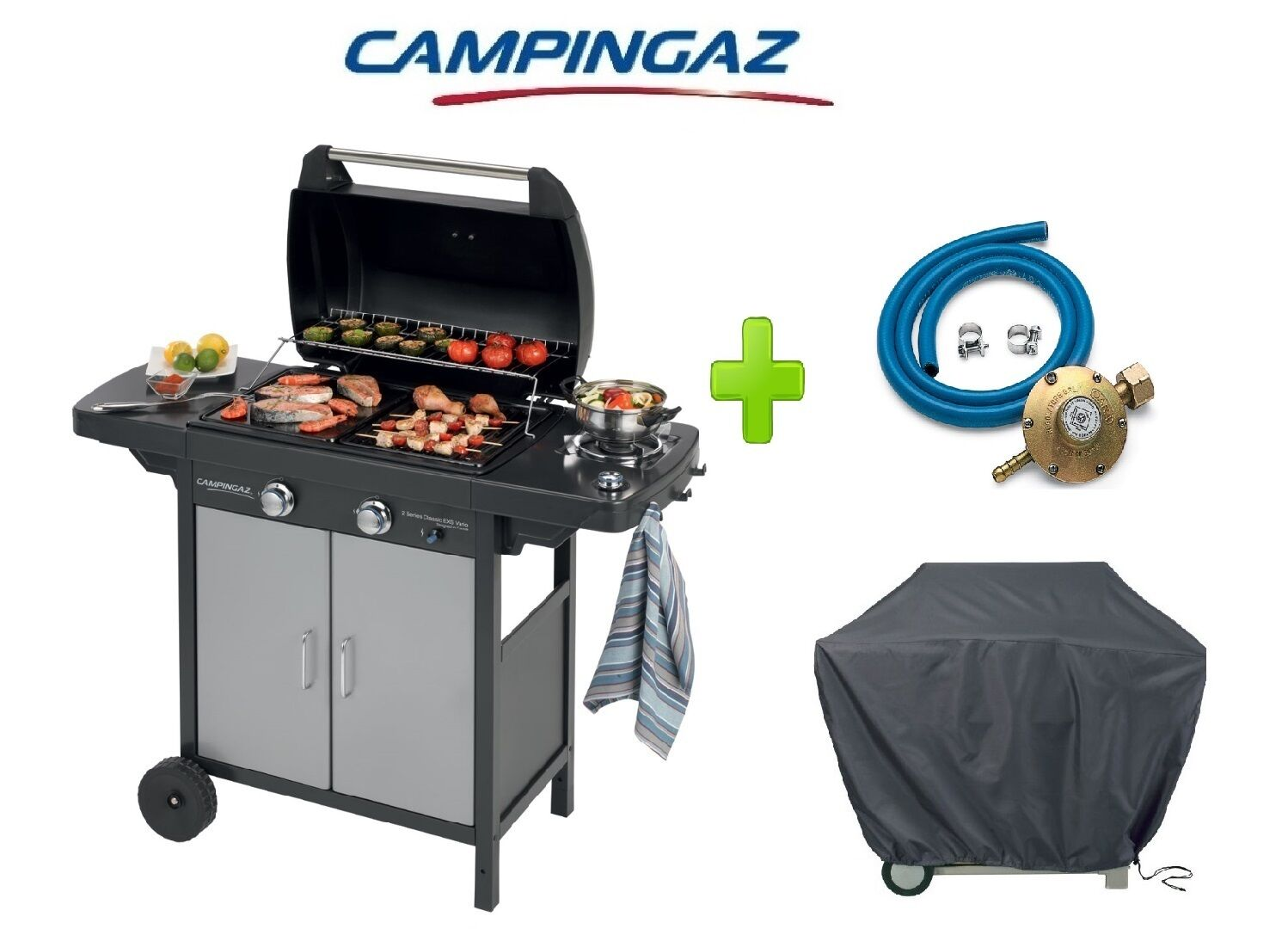 BARBECUE A GAS GPL 2 SERIES CLASSIC VARIO EXS CAMPINGAZ + KIT REGOLATORE E TELO