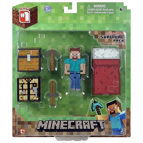 "16450 Minecraft 3/"" STEVE Overworld Survival Pack Series #1 FACTORY SEALED"