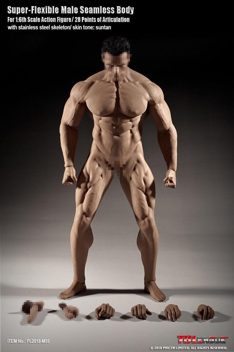 1 6 TBLeague Phicen M35 12  Macho Figura modelo de cuerpo bronceado flexible sin costuras Muñeca