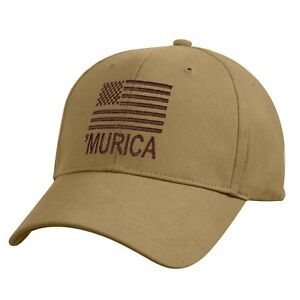 46a3c439eb9 Murica Coyote Brown Deluxe Hat With US Flag Low Profile Baseball Cap ...