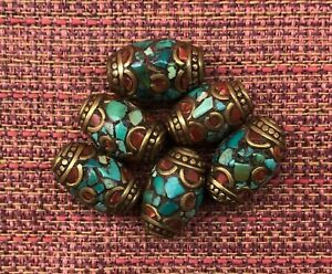 Tibetan-Style-Natural-Drilled-Beads-Brass-Caps-Inlaid-Coral-Turquoise-Lot-of-6