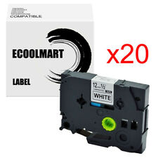 20pk Black On White Label Tz 231 Compatible With Brother Tze 231 P Touch 12mm