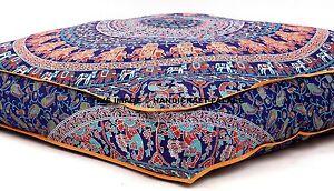 Elephant-Mandala-Indien-Pouf-Sol-Coussin-Repose-Pieds-Ottomane-Carre-88-9cm