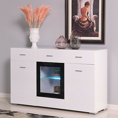Kitchen Storage Buffet LED Cabinet Sideboard Cupboard Console Table W//Drawers