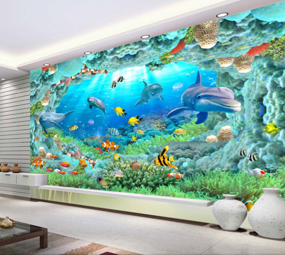 3D Sea Reef Dolphins9 Wallpaper Mural Paper Wall Print Wallpaper Murals UK Carly