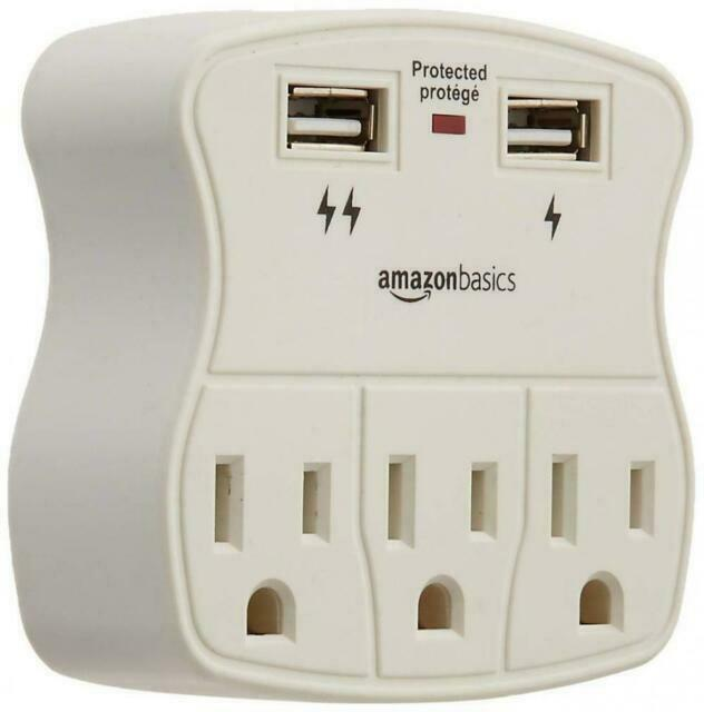 AblePower 3 Outlet Wall Tap Surge Protector w//2 USB Ports 300J with Phone Holder Able Power