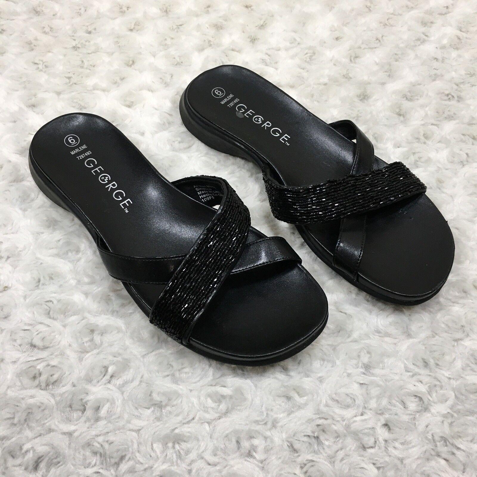 George Womens Marlene Sandals On Size 6 Black Slip On Sandals Open Toe Beaded Strap LQ5254 42d807