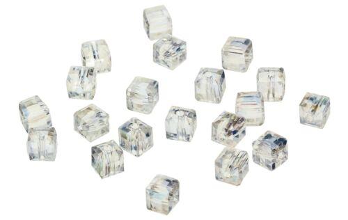 Tschechische Kristall Glasperlen Kristall AB 6mm Würfel 20 Stück #G245