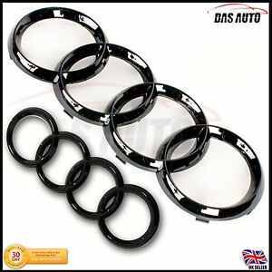 Details about GLOSS-BLACK GRILL & REAR BADGE EMBLEM RINGS AUDI a3 a4 a5 a1  quattro s3 4 rs ggs