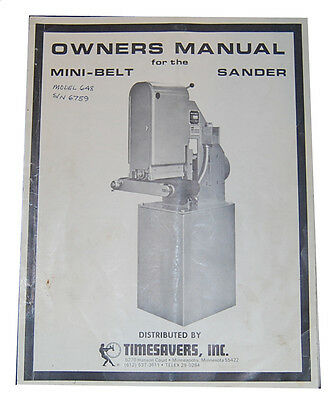 Timesavers Model 648 & 948 Belt Sander, Owners Manual | eBay