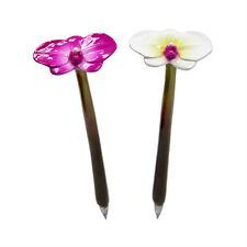 XONEX PINK OR WHITE ORCHID Flower SINGLE PEN Black Ink Ballpoint Pen #10712