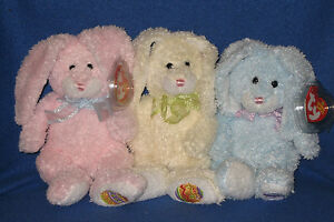TY HIPPILY, HAPPILY & HOPPILY BEANIE BABY BUNNY SET - MINT with MINT TAGS