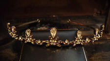 Vintage Style Antique Gold Crystal and Pearl Tiara