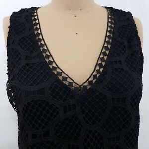 Witchery-Lace-Top-SZ-M-Black-Layered-Lagenlook-V-Neck-Sleeveless
