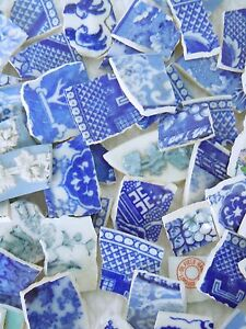 100 Pieces-Vintage Broken China Mosaics-Tiles-Blue Willow-FEELING BLUE?