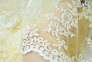 Ivory Embroidery Bridal Dress Lace with Gold Thread Corded Gown DIY Fabric 0.5 Y