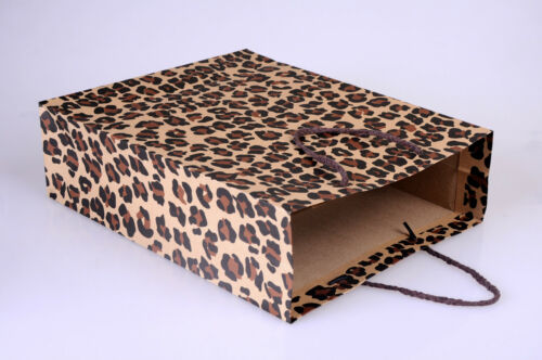 LUXURY LEOPARD RETAIL CARDBOARD CARRIER BAGS WITH STRING HANDLES-RECYCLED GIFT