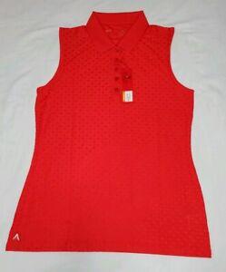 NEW-Antigua-Womens-Sleeveless-Jewel-Desert-Dry-Golf-Polo-Shirt-Red-Size-M