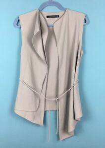 taglia beige aperta senza maniche Giacca S B16 asimmetrica Zara marrone waOSqqK0