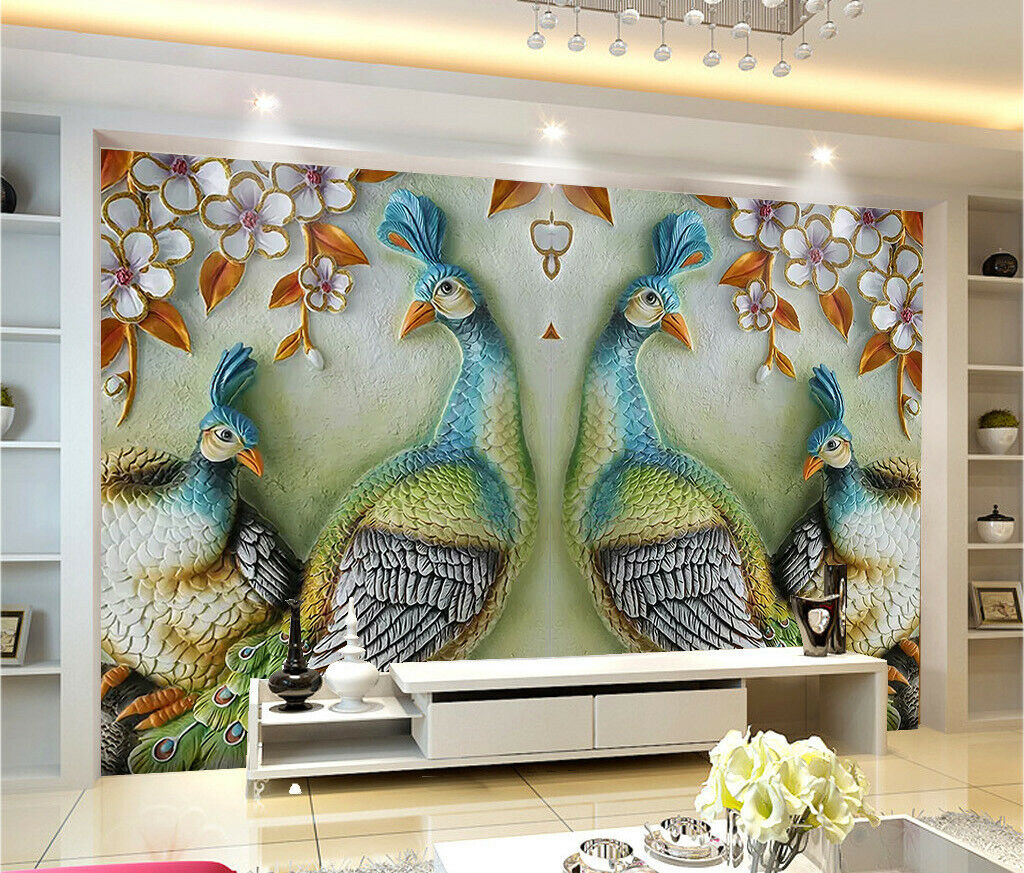 3D Peacock Sculpture I076 Wallpaper Mural Sefl-adhesive Removable Sticker Wendy