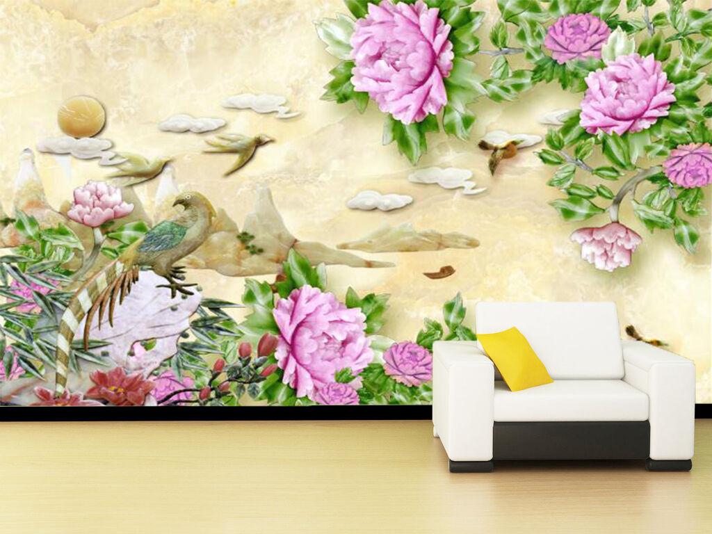 3D Marble Carved Flowers 486 Paper Wall Print Wall Decal Wall Deco Indoor Murals
